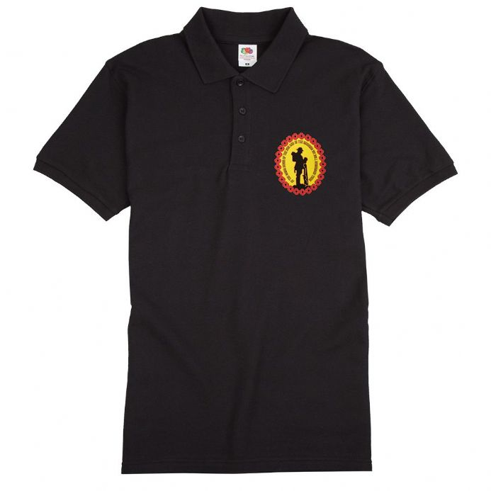 "Remembrance Sunday Poppy Polo Shirt with wording ""We Will Remember Them"""